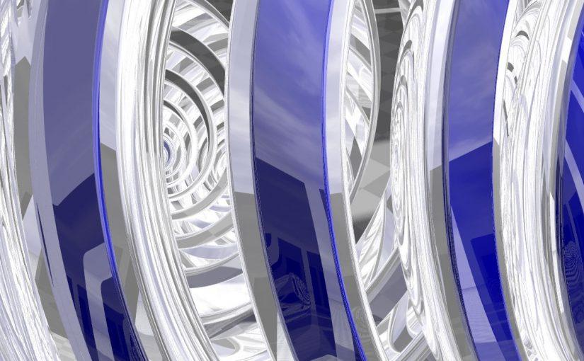 Povray Render – Sphere spirals, 1958, MC Escher